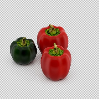 I peperoni isometrici 3d rendono