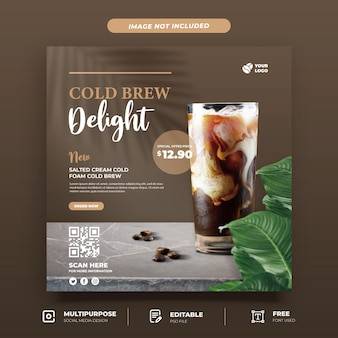 Ice coffee menu social media template