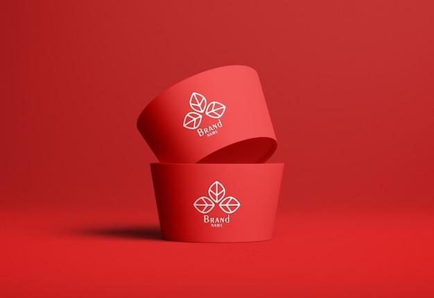 Ice cream cup mockup set van twee