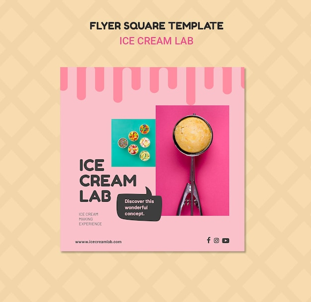 Ice cream lab flyer-sjabloon