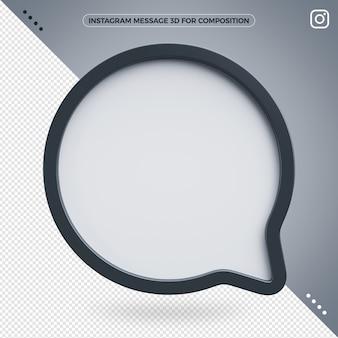 Icona del messaggio 3d di instagram per la composizione