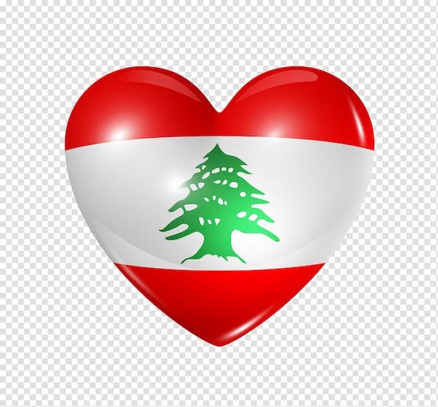 Icona della bandiera del cuore 3d di simbolo del libano di amore isolato su bianco con il percorso di residuo della potatura meccanica