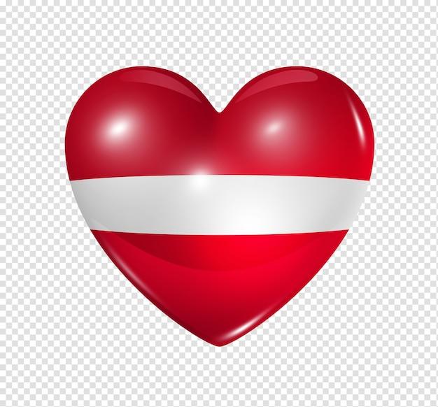 Icona della bandiera del cuore 3d di simbolo di amore della lettonia isolata su bianco con il percorso di residuo della potatura meccanica