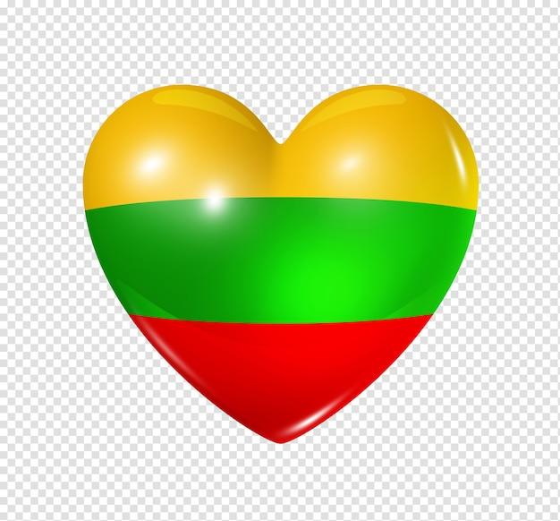 Icona della bandiera del cuore 3d di simbolo di amore della lituania isolata su bianco con il percorso di residuo della potatura meccanica