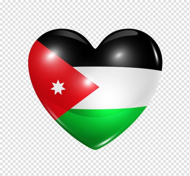 Icona della bandiera del cuore 3d di simbolo di amore jordan isolato su bianco con il percorso di residuo della potatura meccanica
