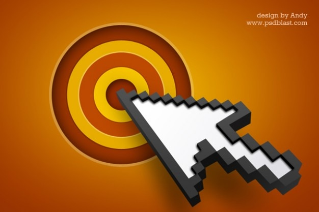 Icona della freccia del cursore con l'obiettivo psd