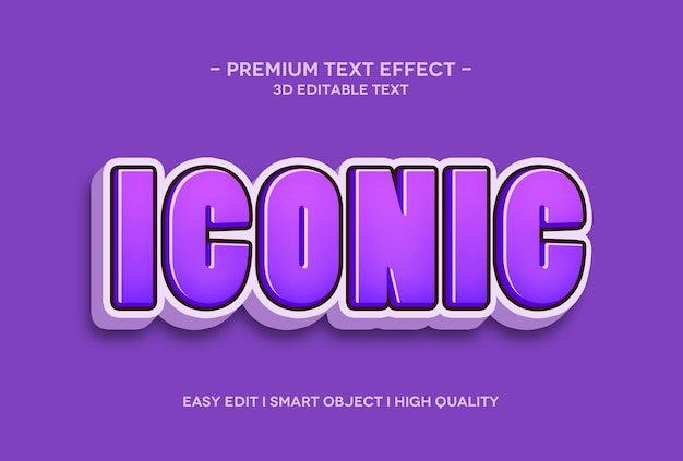 Iconische 3d-teksteffect-sjabloon