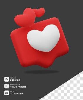 Icono 3d de chat love con fondo transparente