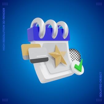 Icono 3d de negocios fecha de facturación completa