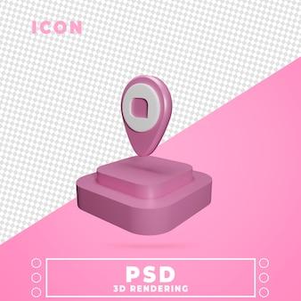 Icono 3d con la representación del podio del mapa del perno aislado