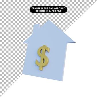 Icono de alquiler de casa de ilustración 3d