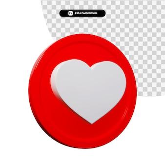 Icono de amor de renderizado 3d aislado