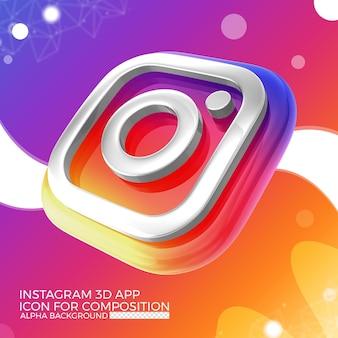 Icono de la aplicación 3d de instagram para la composición