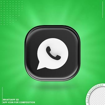 Icono de aplicación whatsapp para composición negro