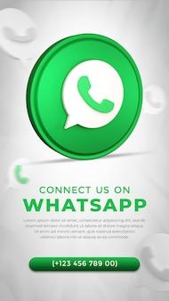 Icono de la aplicación de whatsapp de redes sociales en representación 3d