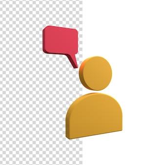 Icono de avatar humano 3d con icono de burbuja de discurso. avatar humano 3d con bocadillo.