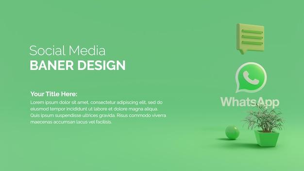 Icono de botón de círculo de whatsapp 3d sobre fondo de colores