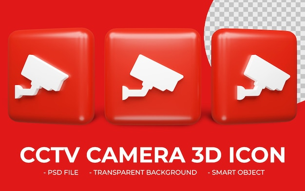 Icono de cámara de seguridad o cámara cctv en 3d rendering aislado