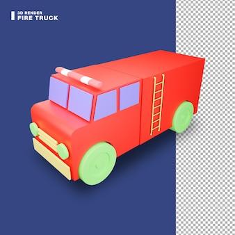 Icono de camión de bomberos de renderizado 3d