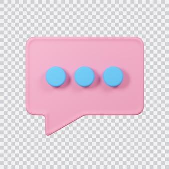 Icono de chat aislado en blanco imagen renderizada 3d