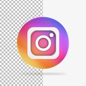 Icono de círculo de render 3d de instagram