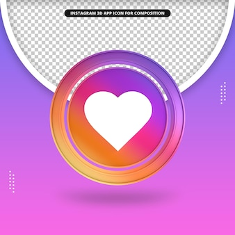 Icono de corazón 3d de la aplicación de instagram