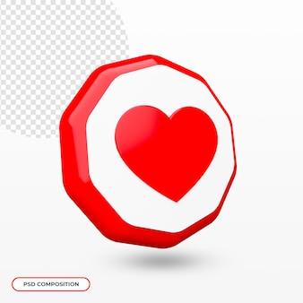 Icono de corazón aislado en renderizado 3d