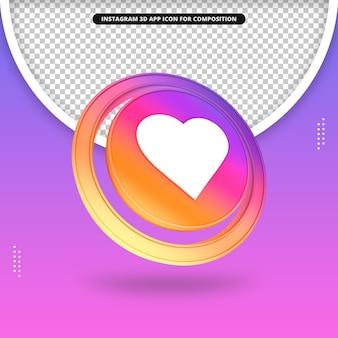 Icono de corazón de render 3d de aplicación de instagram para composición