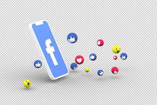 Icono de facebook en la pantalla del teléfono inteligente y reacciones de facebook amor en fondo transparente
