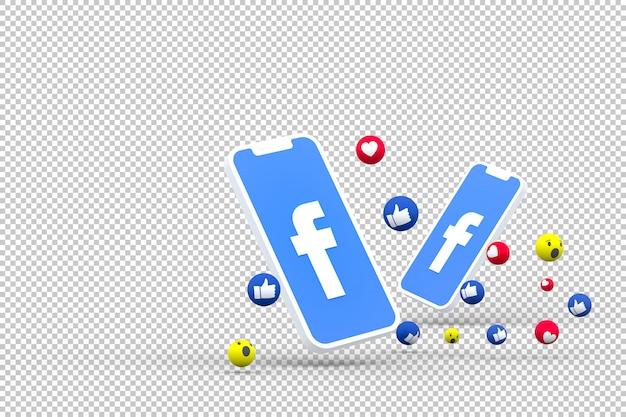 Icono de facebook en la pantalla de teléfonos inteligentes y reacciones de facebook