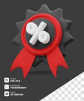 Icono de la insignia de descuento 3d con fondo transparente