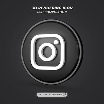 Icono de instagram oscuro de redes sociales en representación 3d