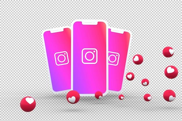 Ícono de instagram en la pantalla de teléfonos inteligentes y reacciones de instagram