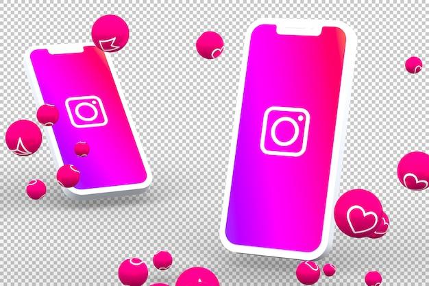 Icono de instagram en pantallas de teléfonos inteligentes con emojis