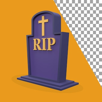 Icono de lápida de tema de halloween 3d hacia la izquierda