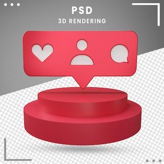 Icono de logotipo girado 3d rojo instagram aislado