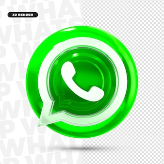Icono del logotipo de whatsapp 3d para composición psd premium