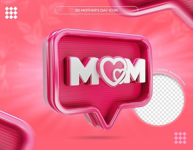 Icono mamá día de la madre y corazón render 3d
