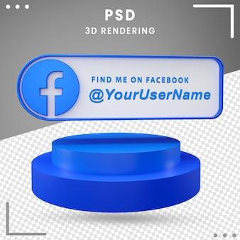 Icono de maqueta de redes sociales 3d facebook premium psd