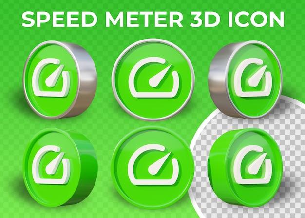 Icono de medidor de velocidad 3d plano realista