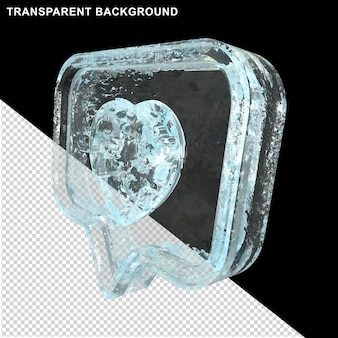 Icono de mensaje con corazón de oro y hielo