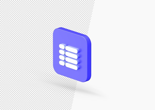Icono de menú de música de renderizado 3d con forma cuadrada redondeada