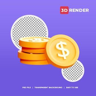 Icono de moneda de dólar 3d con fondo transparente