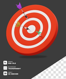 Icono de objetivo de disparo de dartboard 3d con fondo transparente