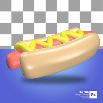 Icono de objeto de renderizado 3d salchicha de hot dog de comida rápida y pan con mayonesa