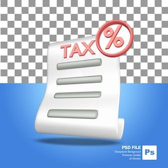 Icono de objeto de representación 3d una hoja de papel de carta de impuestos rojo y verde con un icono de porcentaje
