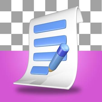 Icono de objeto de representación 3d hoja de papel de factura de factura con un lápiz azul y blanco