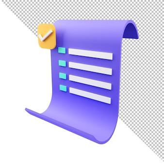 Icono de pago de recibo de transacción de factura de papel de renderizado 3d