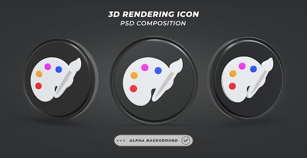 Icono de paleta de colores blanco y negro en representación 3d