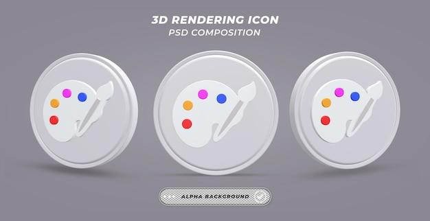 Icono de paleta de colores en representación 3d